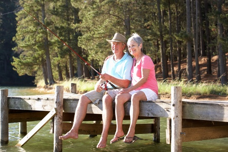 elderly couples: Senior couple fishing