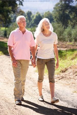 ancianos caminando: Pares mayores en caminata del pa�s Foto de archivo