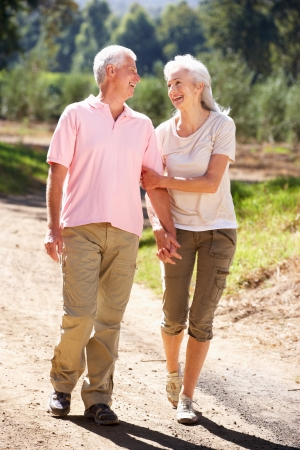 ancianos caminando: Senior pareja en el paseo por el campo