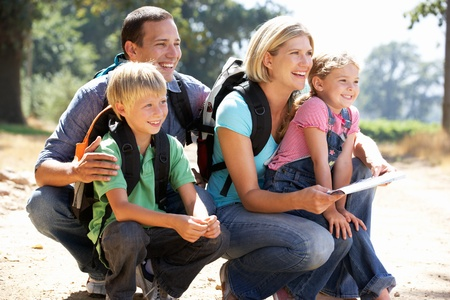 4 5 year old: Young family on country walk