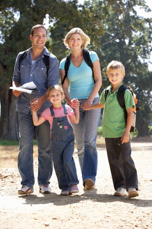 Young family on country walk Stock Photo - 11238982