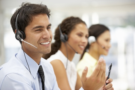 telemarketing: Businessman wearing headset