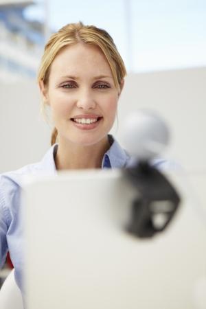 Businesswoman using skype photo