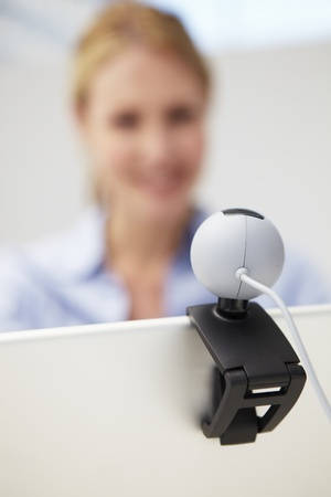 skype: Businesswoman using skype