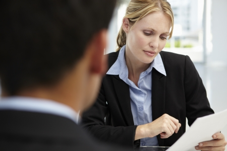concerned: Job interview Stock Photo