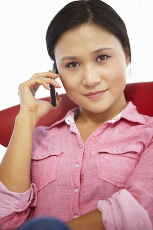 long red hair woman: Young woman on the phone Stock Photo