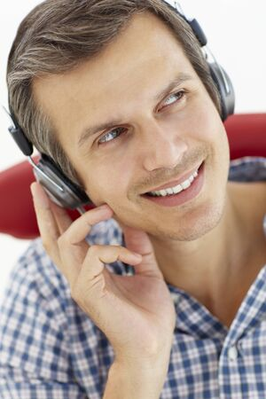 greying: Man with headphones Stock Photo