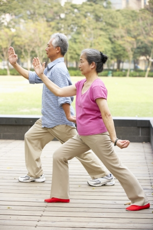 relaxation exercise: Senior Chinese Couple Doing Tai Chi In Park Stock Photo
