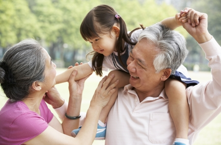 grandparent: Chinese Grandparents Giving Granddaughter Ride On Shoulders