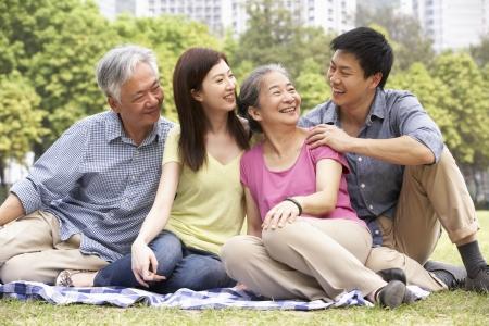 niños platicando: Retrato de padres chinos con hijos adultos de relax en el parque Juntos