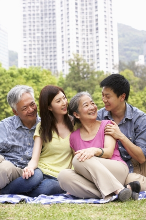 chinese adult: Portrait Of Chinese Parents With Adult Children Relaxing In Park Together Stock Photo
