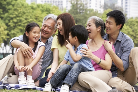 three generation: Portrait Of Multi-Generation Chinese Family Relaxing In Park Together