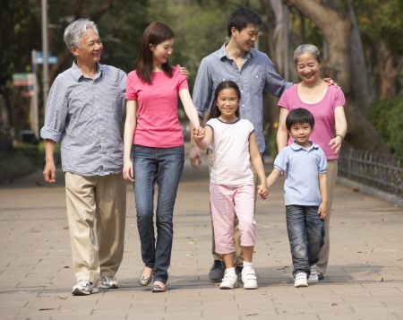 three generations of women: Portrait Of Multi-Generation Chinese Family Walking In Park Together