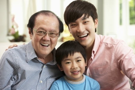 Male Multi Genenration Chinese Family Group Relaxing At HomeTogether Stock Photo - 18710616
