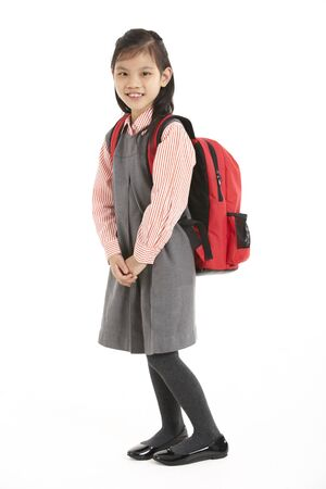 Studio Shot Of Chinese Girl In School Uniform photo