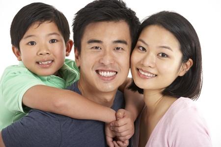 Studio Shot Of Chinese Family Stock Photo - 18709795