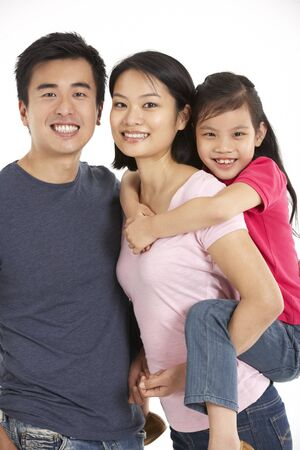niñas chinas: Foto de estudio de la familia china