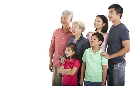 chinese people: Studio Shot Of Multi-Generation Chinese Family Stock Photo