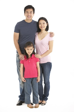 asia family: Full Length Studio Shot Of Chinese Family Stock Photo