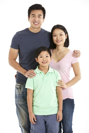 four person: Studio Shot Of Chinese Family