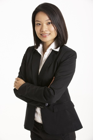 chinese woman: Studio Portrait Of Chinese Businesswoman