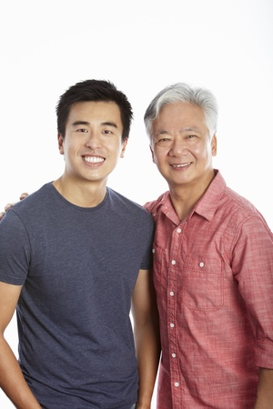 30s adult: Studio Portrait Of Chinese Father With Adult Son