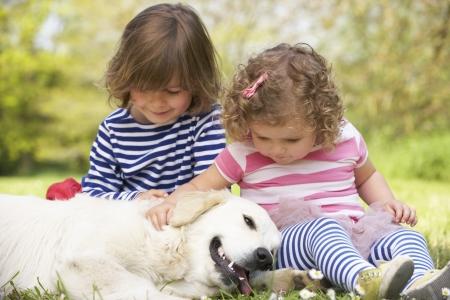 hermanos jugando: Dos niños Petting Dog familia en el campo de verano