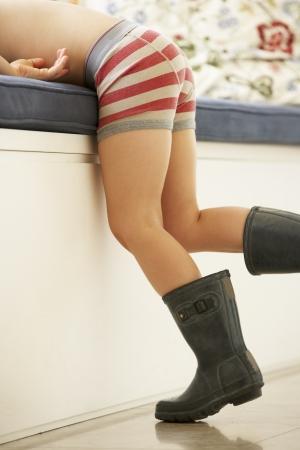 boy underwear: Boy Playing At Dressing Up