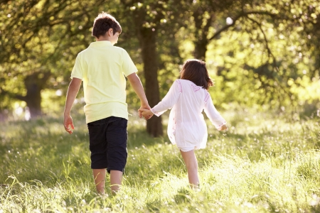 Boy And Girl Walking Through Summer Field Together photo