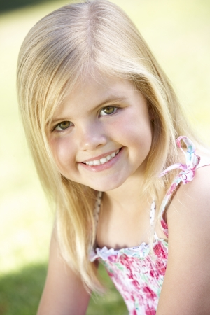 5 year old girl: Outdoor Portrait Of Smiling Young Girl