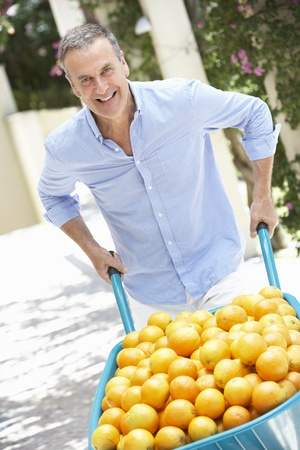 Senior Man Pushing Wheelbarrow Filled With Oranges photo