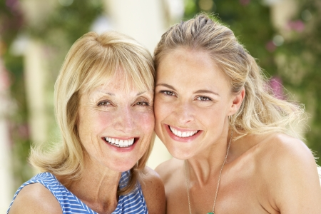 grown ups: Portrait Of Mother And Adult Daughter Stock Photo