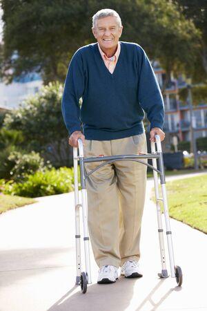 Senior Man With Walking Frame Stock Photo - 18732612
