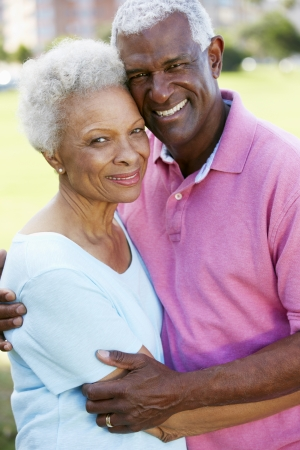 black woman white man: Outdoor Portrait Of Happy Senior Couple