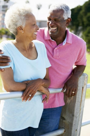 african american couple: Senior Couple Walking In Park Together Stock Photo