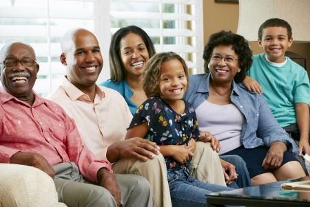 happy black woman: Portrait Of Multi Generation Family