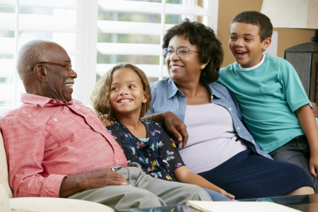 5 year old: Portrait Of Grandparents With Grandchildren Stock Photo