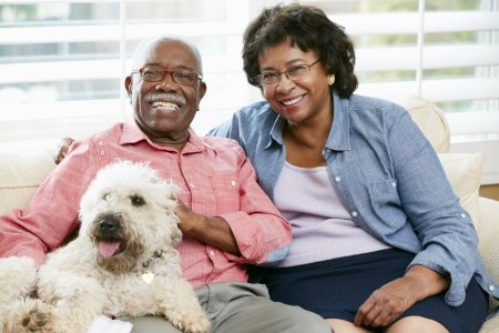 Happy Senior Couple Sitting On Sofa With Dog photo