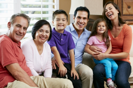 hispanic women: Portrait Of Multi Generation Family