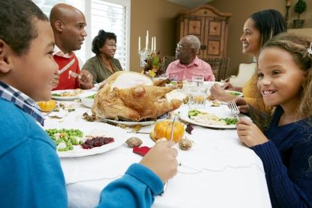 5 10 year old girl: Multi Generation Family Celebrating Thanksgiving