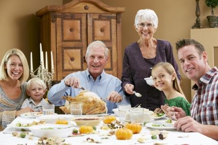 Multi Generation Family Celebrating Thanksgiving Stock Photo - 18735697