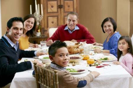 mixed race family: Multi Generation Family Celebrating Thanksgiving