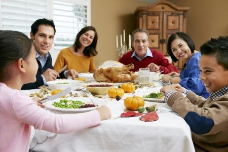 holiday dinner: Multi Generation Family Celebrating Thanksgiving