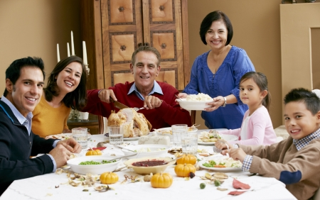 Multi Generation Family Celebrating Thanksgiving Stock Photo - 18735950