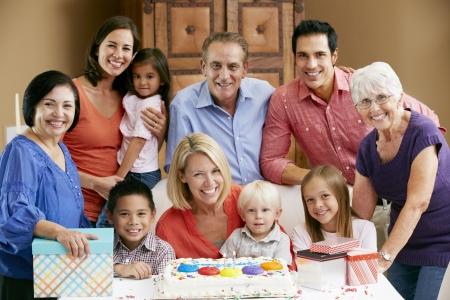 mixed family: Multi Generation Family Celebrating Childrens Birthday