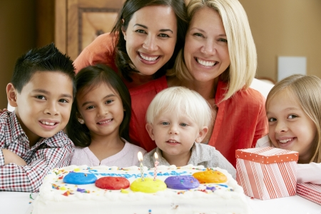 Mothers Celebrating Child's Birthday With Friends Stock Photo - 18735732