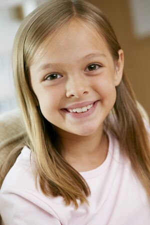 9 year old girl: Portrait Of Smiling Young Girl