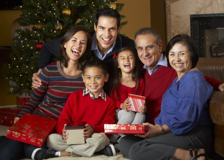Multi Generation Family In Front Of Christmas Tree Stock Photo - 18735915