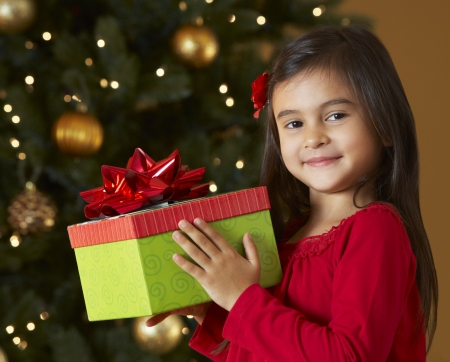 Girl Holding Christmas Present In Front Of Tree photo