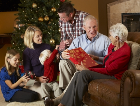 Multi Generation Family Opening Christmas Presents In Front Of Tree Stock Photo - 18736068